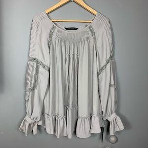 BNWT $100 Zara woman grey lace pleated top sz M
